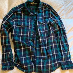 Men's Flannel- Blue and Turquoise Checker